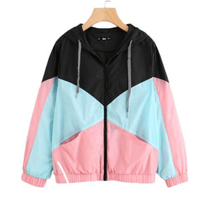 SweatyRocks Woman Winter Coats and Jackets Multicolor Cut and Sew Hooded Windbreaker Jacket Color Block Coats for Women-rodewe