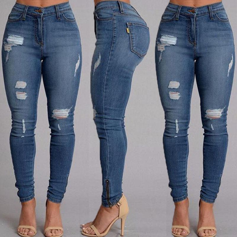 Hot Selling Women Slim Jeans Casual Street Wear Sexy Women Denim Skinny Pants High Waist Stretch Pencil Trousers-rodewe