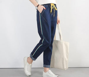 Plus Size 5XL 2018 Autumn New Blue Harem Pants Vintage Elastic High Waist Jeans Womens Full Length Pants Loose Cowboy Pants-rodewe