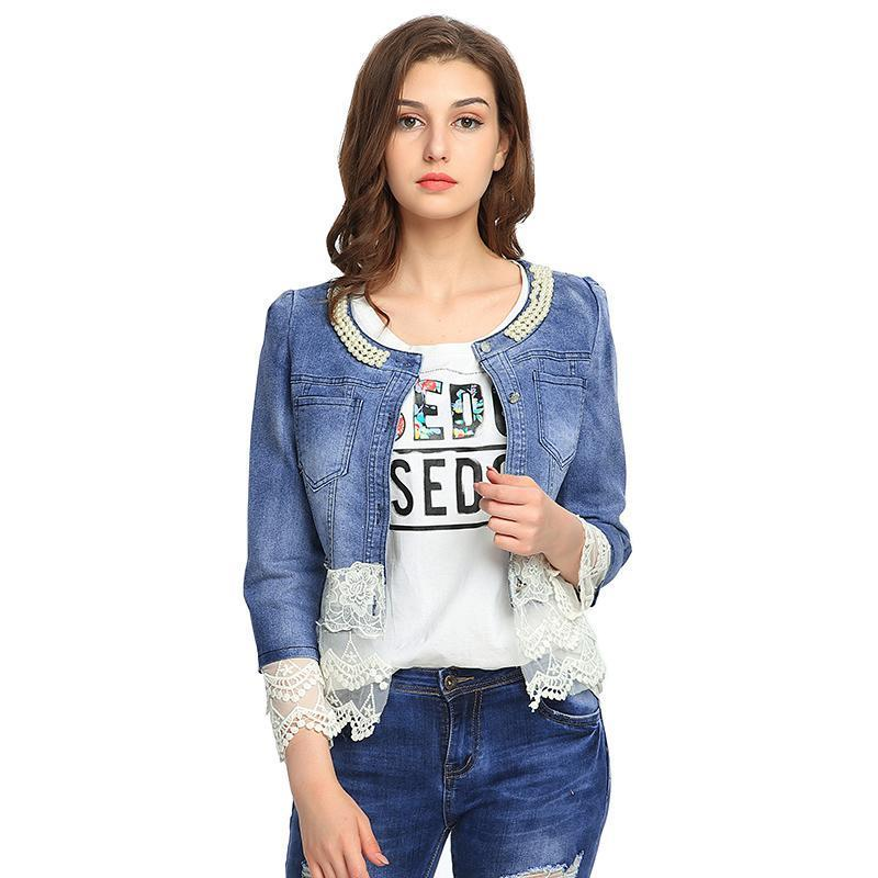 VooBuyla Oversized Jacket Women Outerwear Casacos Feminino Slim Lace Patchwork Beading Vintage Female Stretch Denim Jackets Coat-rodewe