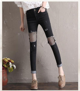 The new spring and summer 2017. Loading hole net knee slim slim Jeans Girl nine feet-rodewe