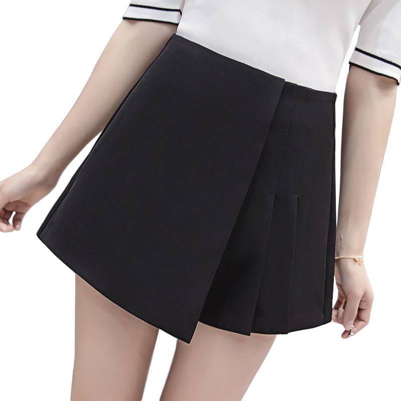 Solid color high waist pleated skirt shorts 2018 spring summer irregular wide leg shorts for women ladies slim short pants-rodewe