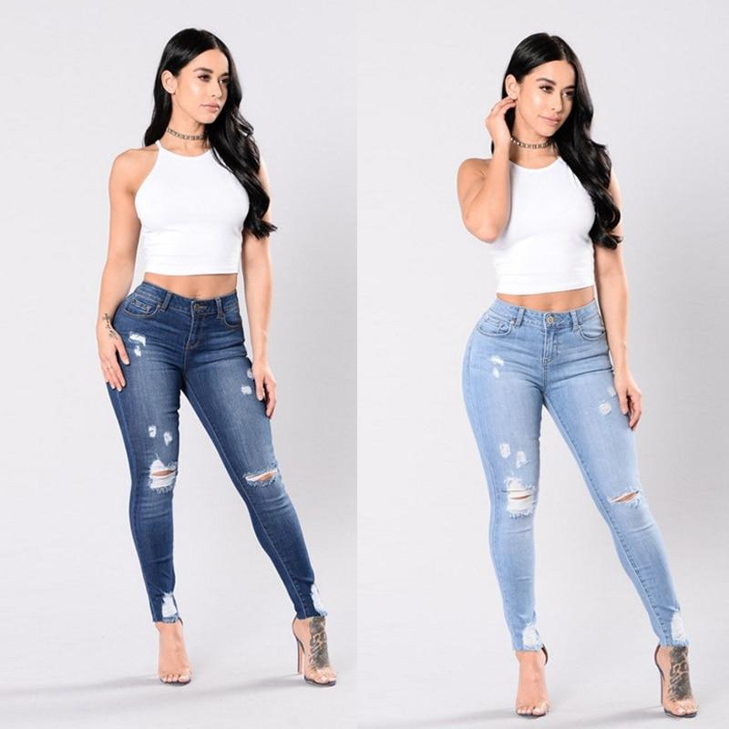 High Waisted Skinny Fit Denim Pants Stretch Womens Jeans Ripped Knee-rodewe