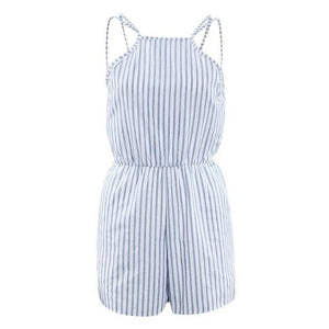 Summer Women Sleeveless Jumpsuit Blue Striped Shorts Casual Backless Romper Beach Overall Elegant Playsuits Girl Backless Romper-rodewe