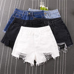 UNIONCODE Fishnet Mesh Denim Shorts Women High Waist Sexy Frayed Hem Summer Shorts 2017 Ripped Shorts Plus size S-3XL-rodewe