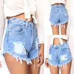 Vintage Women Ladies Summer Ripped High Waisted Denim Shorts Hot Women Sexy Shorts Trousers-rodewe