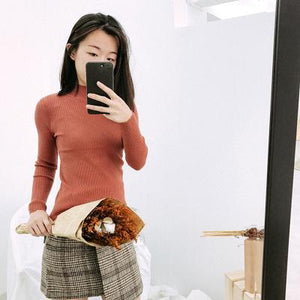 Women Sweater And Pullovers High Elastic Solid Top 2018 Fall Winter Fashion Sweater Women Slim Sexy O-Neck Korean Knitted Cotton-rodewe