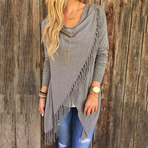 New Autumn Knitted Cardigans Tops Women Casual Loose Long Sleeve Irregular Hem Tassel Cardigan Cape Poncho Blouse Coat Outwear-rodewe