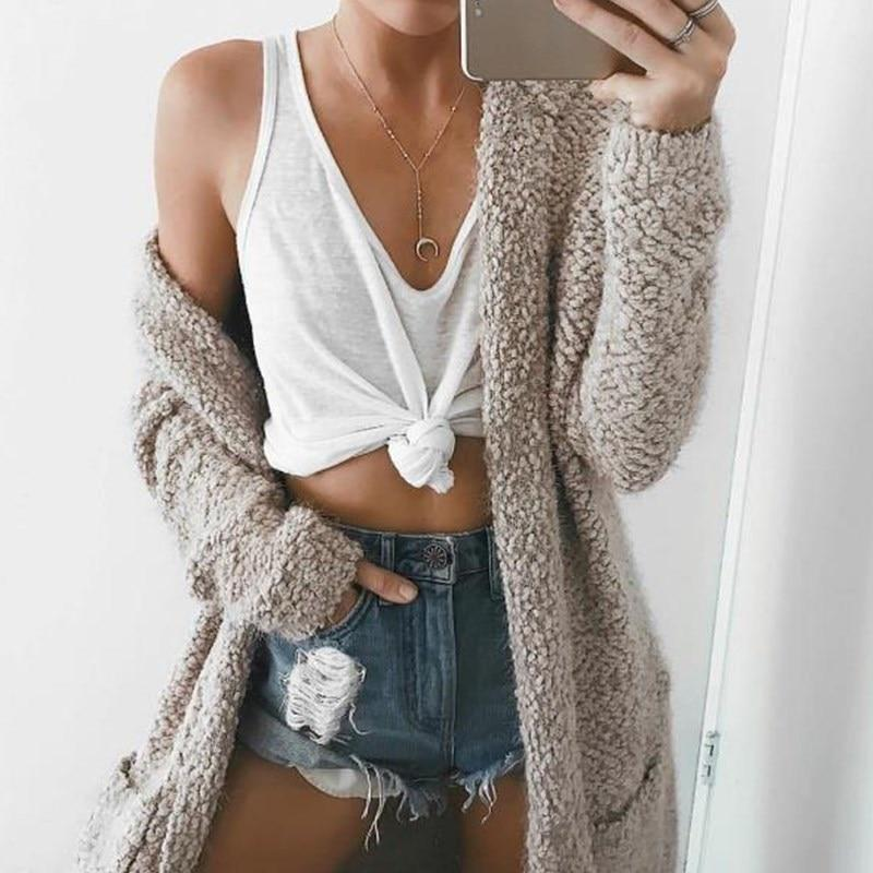 Long Cardigans Sweater with Hat Autumn 2018 Women Outwear Long Sleeve Pockets Winter Warm Sweater Coat Oversize Top 7 Colors-rodewe