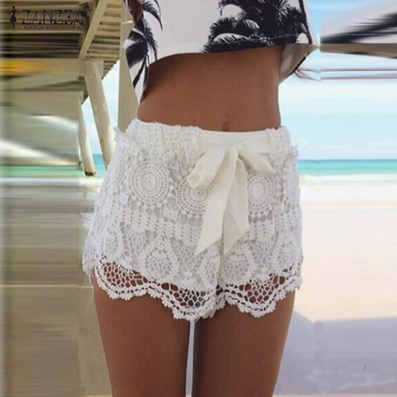 ZANZEA 2018 Women Summer Shorts Fashion Lace Hollow Out Drawstring Casual Shorts Solid Shorts Plus Size Pantalon Femme-rodewe