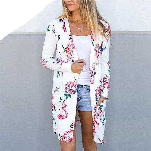 Aproms Cute Floral Print Basic Cardigan Coat Women Plus Size Open Stitch Jacket Streetwear Fashion 2018 Coats Female Outerwear-rodewe