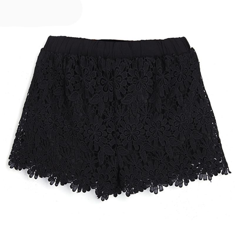 ZANZEA Korean Style 2018 Sexy Womens Summer Casual Sweet Cute Short Pants Plus Size Elastic Waist Lace Shorts Black White-rodewe