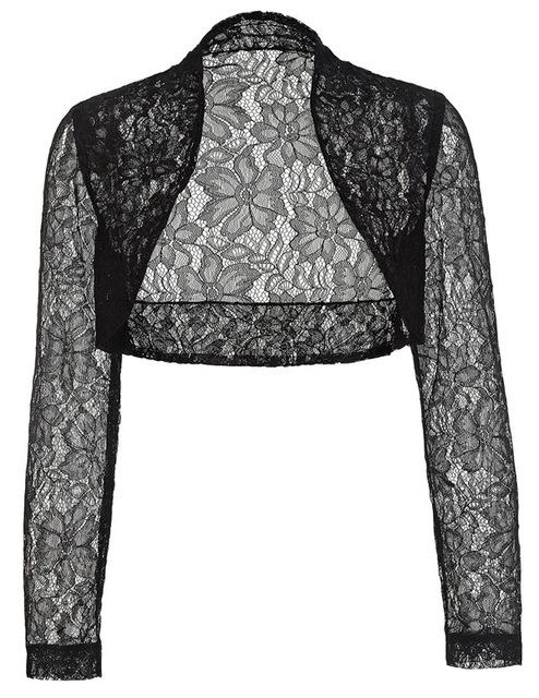 Autumn Fall Jackets Women Long Sleeve Cropped Shrug 2018 Black Green Wedding Evening Prom Coat Wrap Plus Size Womens Lace Bolero-rodewe