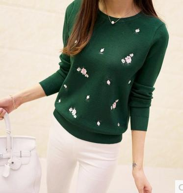 S-3XL Woman Sweater Winter 2018 Autumn Fashion Elegant Peach Embroidery Slim Knitted Girl Knitting Pullover Tops Female Plus Siz-rodewe