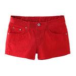 SYB 2018 NEW Summer Denim Shorts Slim Fit Candy Color Short Pants Short Jeans Women Shorts Denim red-rodewe