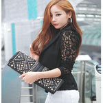#2533 1PC Sexy Women Long Sleeve Lace stitching Crochet Small Jacket D45-rodewe