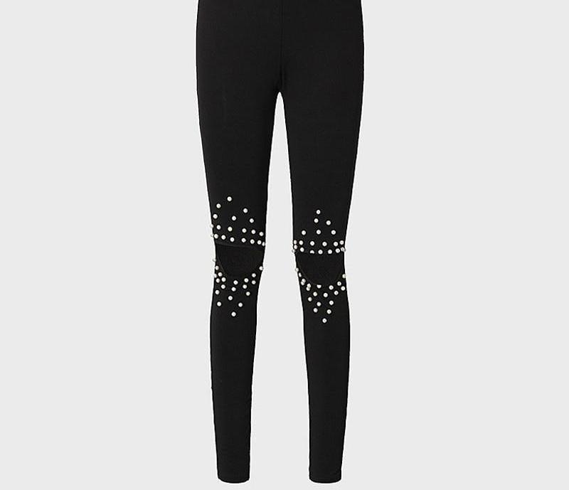 High Stretch Rivet Beading Jeans Hole Elastic Skinny Jeans Trousers Woman Pencil Pants Black Ripped Jeans Female Bottoms WICCON-rodewe
