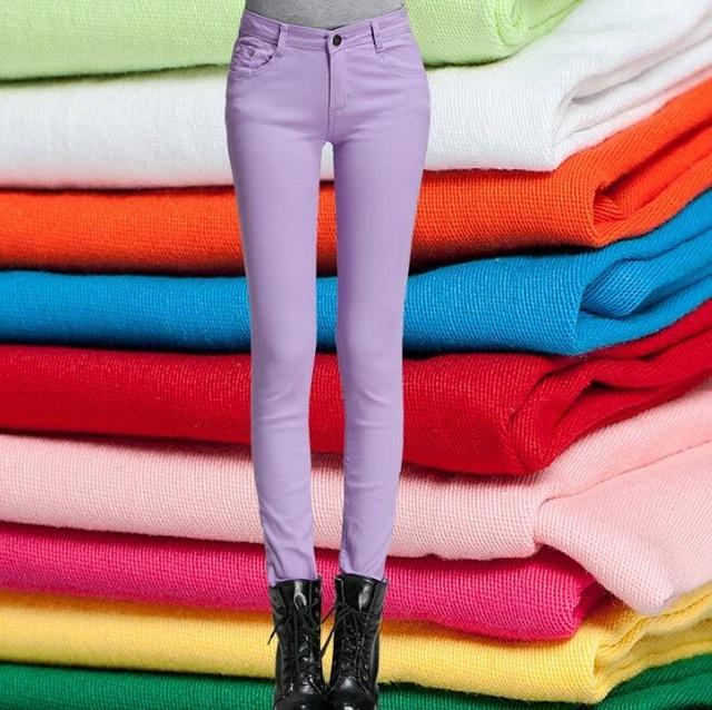 YRRETY Woman Jeans Solid Pencil Women Pants Girls Sweet Candy Color Slim Trousers Femme Pantalon Good Quality Women Leggings-rodewe