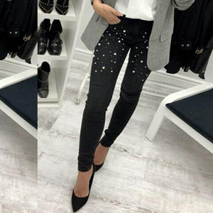2018 Women Nerw Fashion Casual Skinny Denim Pants High Waist Stretch Embroidered Flares Zipper Jeans Long Pencil Trousers Hot-rodewe