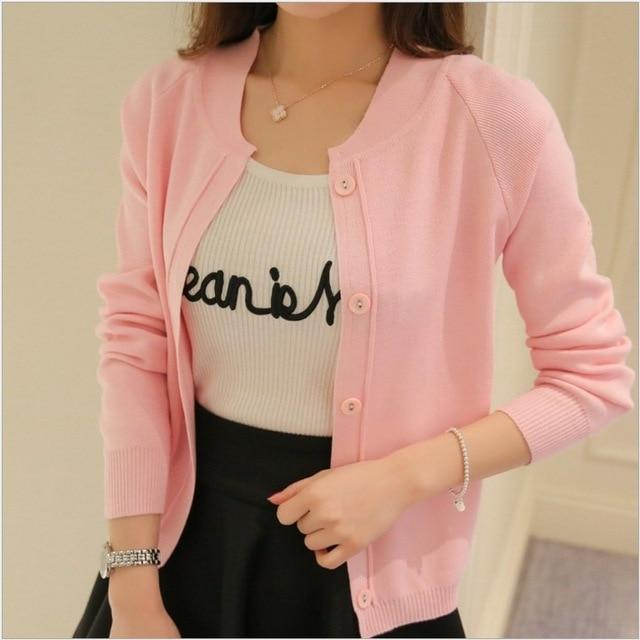 OHRYIYIE Spring Summer Candy Color Cardigan Women Sweater 2018 New Long Sleeve Knitted Cardigan Female Pink/Yellow Knit Coats-rodewe