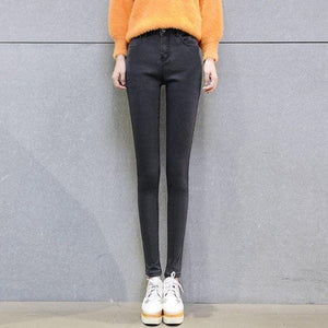 Women's street wear high waist jeans and elastic pencil pants 2018 casual blue stretch trousers women slim waist skinny jeans-rodewe