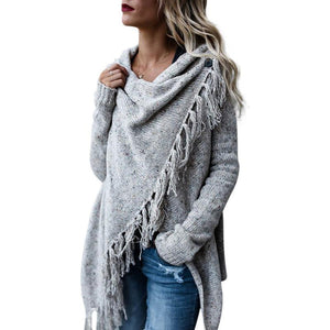 Simenual Criss cross knitted cardigans for women fashion irregular slim fringe long cardigan female winter sweater jackets sale-rodewe