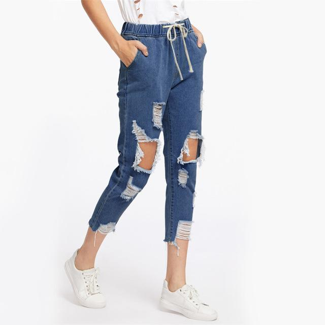 ROMWE Drawstring Waist Ripped Jeans For Women Blue Extreme Destroyed Casual Crop Denim Pants Fall Tapered Jeans-rodewe