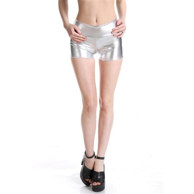 YRRETY Plus Size Adult Silver Metallic Shorts Rave Booty Shorts Mid Waist Cheer Shorts PU Shiny Dance Woman Shorts Sexy M-XXL-rodewe