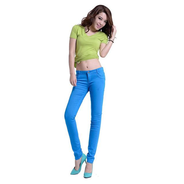 Skinny Jeans for women Cotton Denim Pants New Spring Fashion Pencil Jeans Women Candy Color Mid Waist Full Length Pencil Pants-rodewe