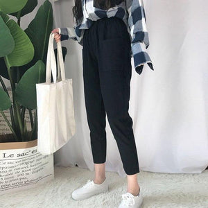 S- 5XL Full size autumn jeans woman 2017 blue ankle long pants female drawstring elastic waist trousers female bottoms pockets-rodewe