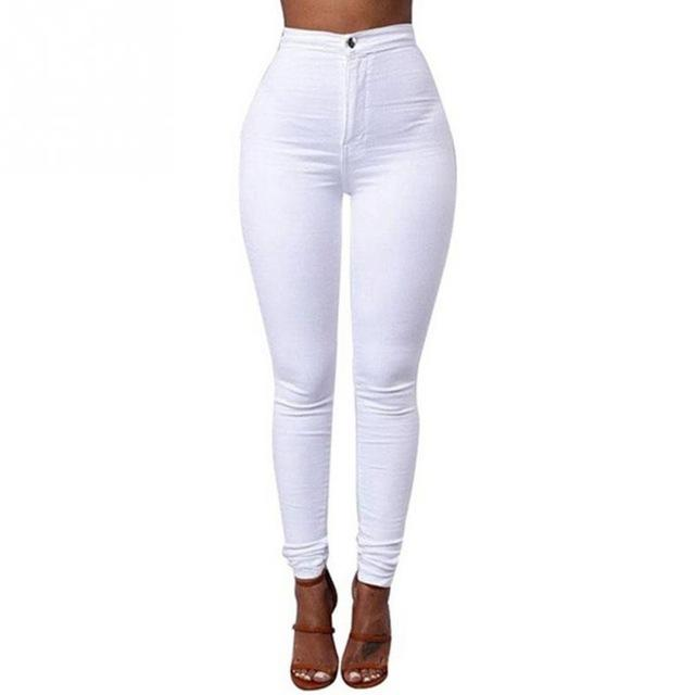 Women Fashion Sexy High Waist Ankle-Length Candy-Color Polyester Thin Section Elastic Tight Pencil Pants Stretch Skinny Jeans-rodewe