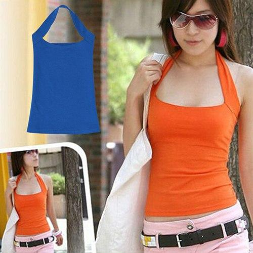 ! Women's Fashion Cotton Tank Tops Sexy Cami Sleeveless Backless T-Shirt Blouse-rodewe