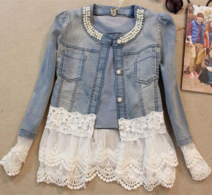 New 2018 Spring Jackets Women Outerwear Slim Lace Patchwork Long-sleeve Denim Jacket Lady Vintage Jeans Jacket Lace Jacket JK454-rodewe