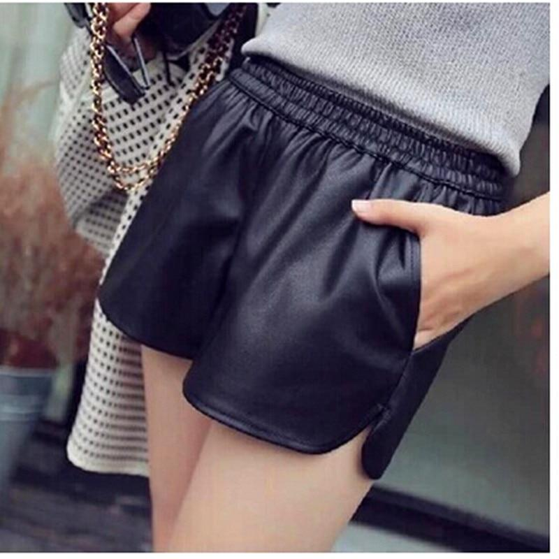 S-XXL 2018 New PU Leather Shorts Women's Black High Quality Short Pants With Pockets Loose Casual Shorts DK6162-rodewe