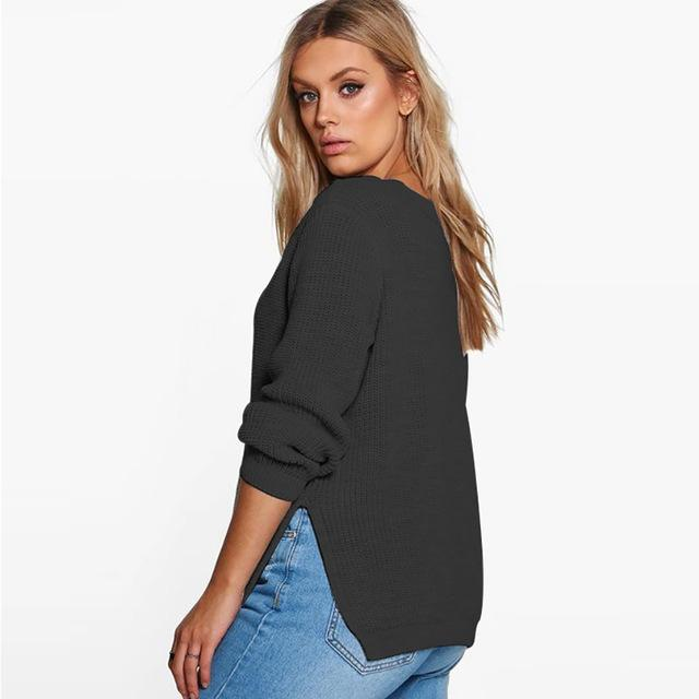 MissKoKo 2018 Autumn Big Size Women Clothing Casual Sexy Solid Hollow Out Split Slim Sweater Warm Plus Size Sweater 4XL 5XL 6XL-rodewe