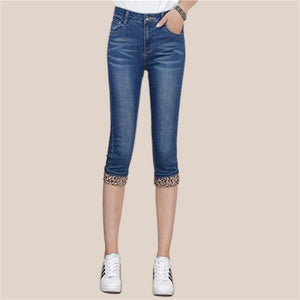 Europe US New Fashion lady casual Cropped Jeans Cute blue girls Cotton Denim High waist Pockets Slim Knee length Capri Pants-rodewe