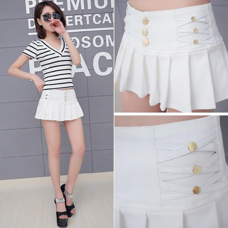 Elasticity Waist Pleated Skirt Shorts Women 2018 New Summer Style All-match Black White Stretch Hotpant Miniskirt Micro Short-rodewe