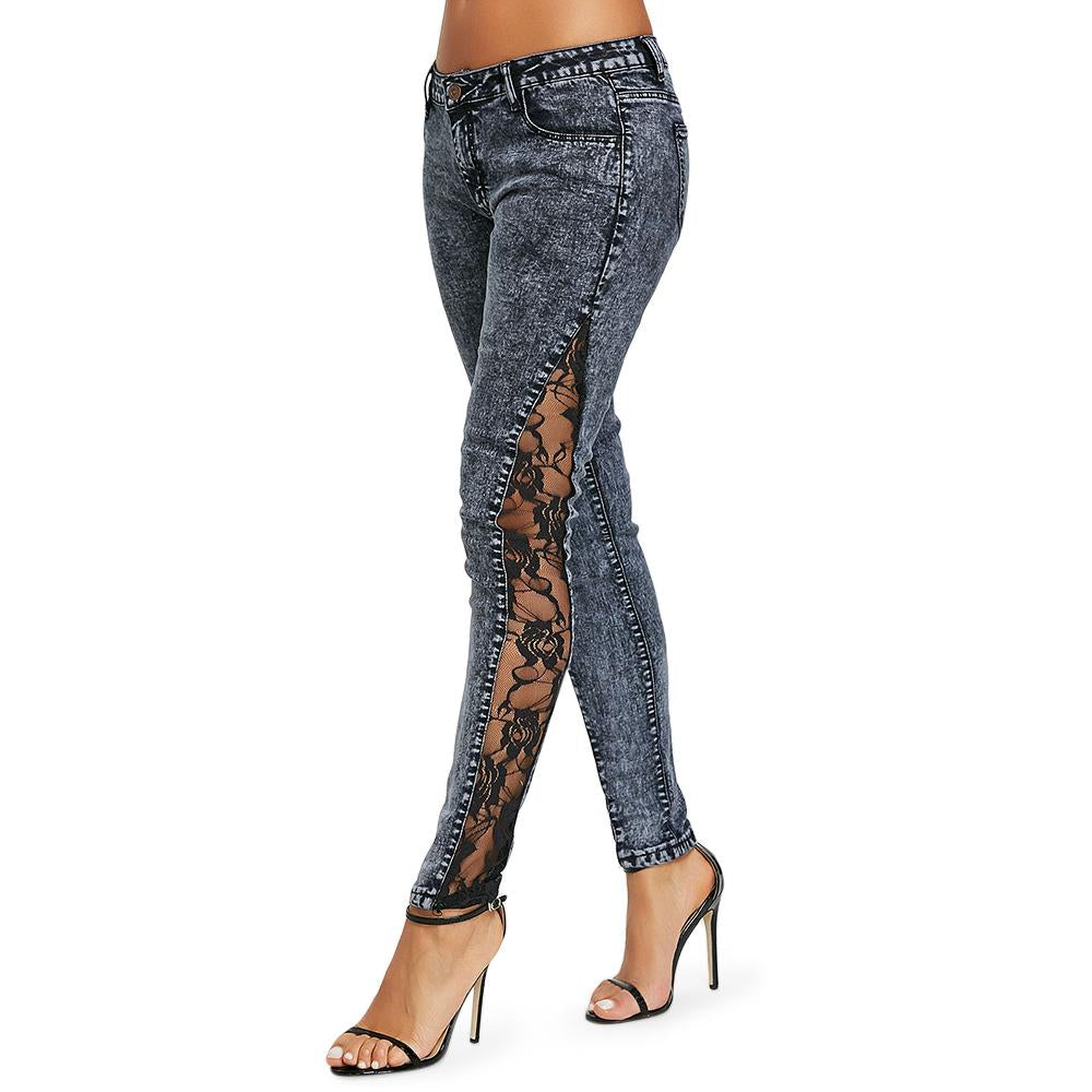 LANGSTAR Women Plus Size Jeans Sheer Lace Side Low Waisted Jeans Slim Fit Skinny See Through Lace Panel Jeans Button Fly Jeans-rodewe