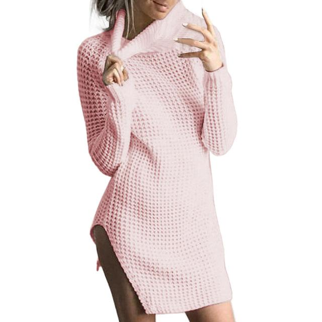Womens Turtleneck Knitted Dresses Long Sleeve Bodycon Ladies Cocktail Mini Dress Fashion Hot Sales New Style Dresses Wolovey#20-rodewe