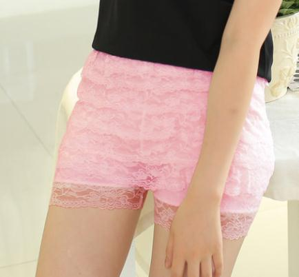 YGYEEG 1Pcs Fashion Summer Women Casual Mid-waist Shorts Sexy Lace Sheer Floral Hollow Out Hot Girl Elastic 8 Floors Shorts 2018-rodewe