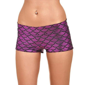 YRRETY Women Girls Polyester Shiny Mermaid Fish Scale Print Stretchy Shorts Bodycon Mini Shorts For Workout Party Clothing 2018-rodewe