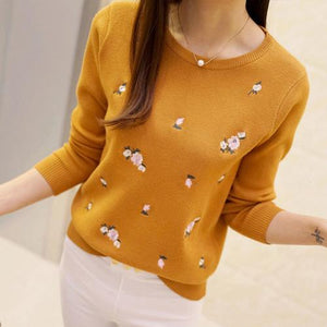 2017 Winter Women Sweaters And Pullovers Floral Embroidery Female Knittng Pullovers Stretchy Tricot Jumper Tops Pull Femme-rodewe