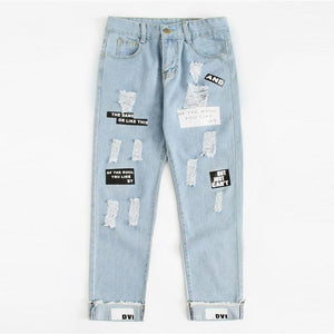 ROMWE Letter Print Ripped Jeans 2018 New Fashion Spring Button Fly Mid Waist Women Trousers Blue Pocket Casual Jeans-rodewe