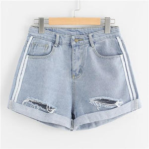 SweatyRocks Rips Denim Shorts Women Button Fly Mid Waist Loose Shorts 2018 Summer New Fashion Blue Rock Casual Shorts-rodewe