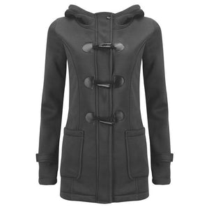 Women's Spring Autumn Trench Coat Long Overcoat Female Hooded Coat Zipper Horn Button Outwear-rodewe