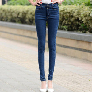 Women white jeans female 2018 new Korean spring and autumn high waist trousers stretch Slim sexy black feet pants pants-rodewe