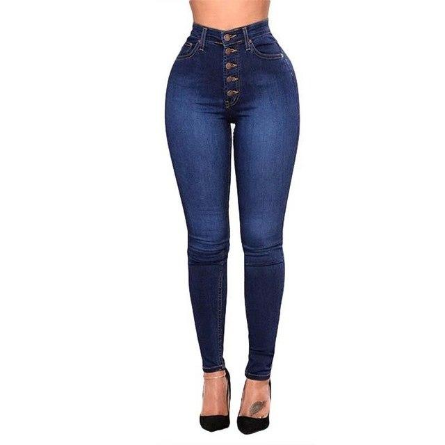High Waist Women Jeans Bleached Single Breasted Cowboy Denim Pants Package Hip Stretch Female Trousers Plus Size Bottoms HM1277-rodewe