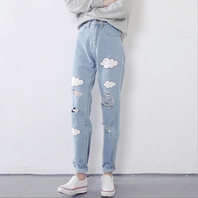 Dunayskiy 2018 Women Jeans Cloud Print Ripped Jeans Casual Slim Vintage High Waist Denim Jeans Boyfriend For Women Harem Pants-rodewe