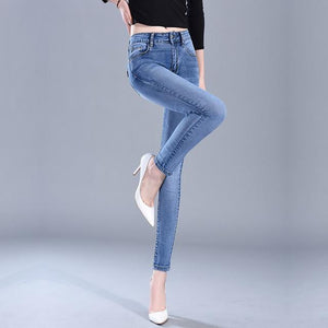 Slim Jeans For Women Skinny Jeans Woman Blue Denim Pencil Pants Stretch Full Length Lady Jeans Blue Pants Calca Feminina-rodewe