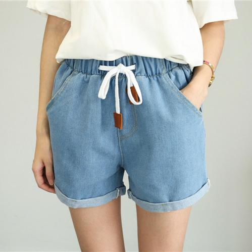 Hot Sale Summer 2018 New High Waist Shorts Casual Women Loose Straight Denim Short Pants Students Elastic Waist Jeans Shorts-rodewe